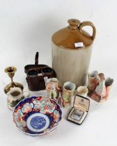 Collection of objects to include glassware, large stoneware jug, Imari bowl and a pair of binoculars