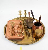 Eastern Benares tray, together with a collection of brass wares, consisting of two pairs of tongs,