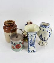 Pair of Dutch Delft vases, together with a further Dutch Delft vase, Bernardaud Limoges ashtray,