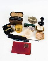 Works of art to include opera glasses, ebony dressing table pot, glove stretchers, and pair of