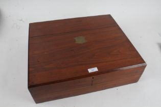 Oak cutlery box, having hinged lid, containing pewter hip flask, faux tortoiseshell box and cover,