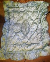Silk eiderdown of green coulourings
