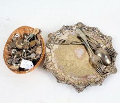 Silver plated salver, with shaped scallop shell border, together with a quantity of plated