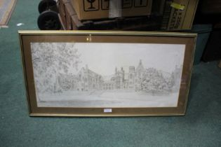 Print depicting Malvern College, limited edition 48 of 550, housed in a gilt and glazed frame, the