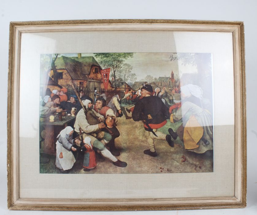 After Pieter Bruegel the Elder, The Peasant Dance, housed in a modern and glazed frame, 56.5cm