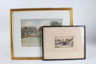 English School, study of a country house, unsigned watercolour, housed in a gilt and glazed frame,