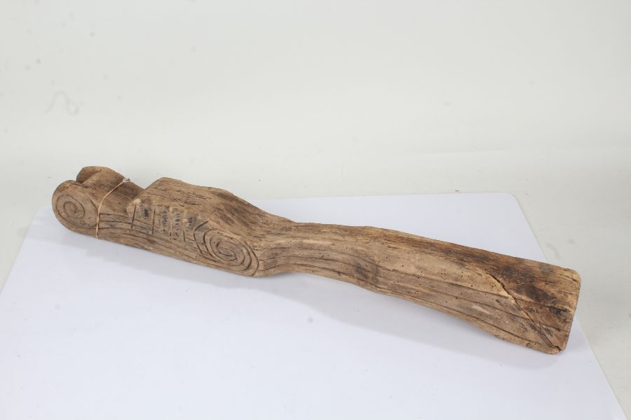 18th Century Continental tiller, the carved tiller with scroll end and line decoration, 79cm long