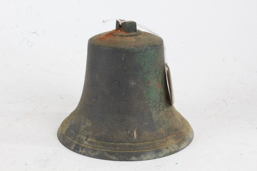 20th century cast bronzed bell, 16cm diameter