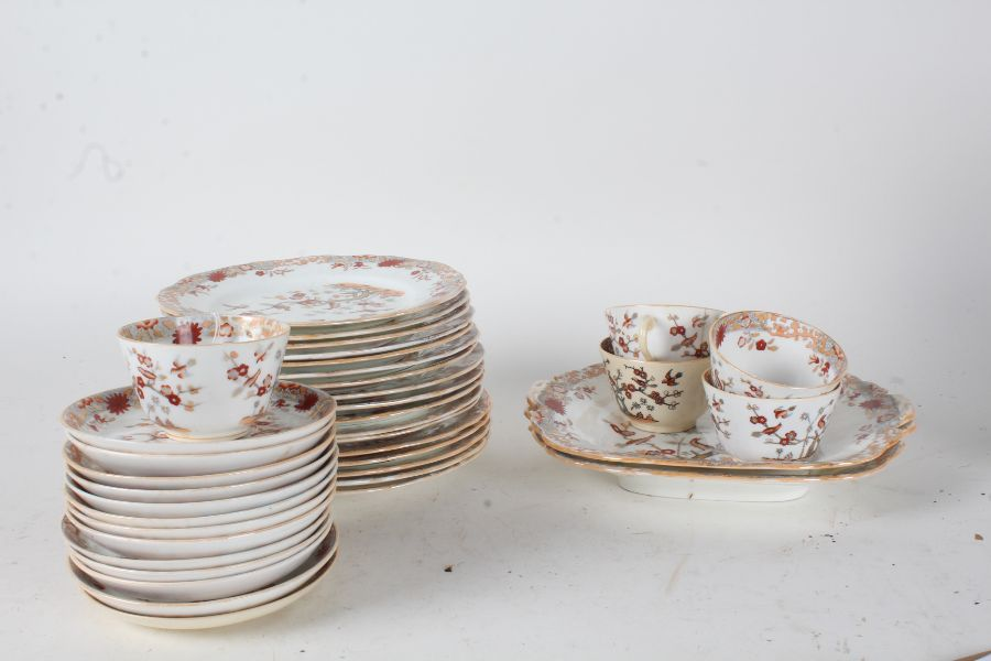 Victorian Minton porcelain teaware and side plates, all decorated in the Chinese taste (qty)