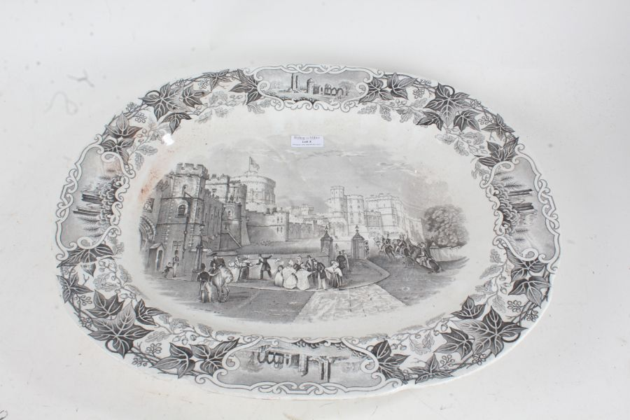 Victorian Staffordshire pottery meat serving dish, with a black transfer decorated Windsor castle