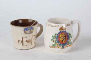 Adams porcelain coronation mug for King Edward VIII, May 1937, King Edward VIII pottery coronation