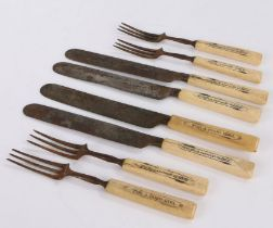 Unusual set of 19th century steel and bone knives and forks, consisting of four knives and four