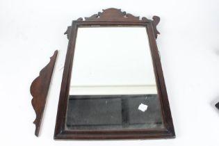 Georgian style mahogany fret mirror, with scrolled frame, 44cm wide, 67cm high (AF)