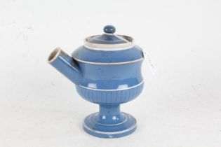 19th century blue and white wet drug jar, with lift up lid and part fluted body raised on circular