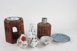 Chinese and Japanese works of art, to include octagonal turret form brush pot, tea caddy, tea