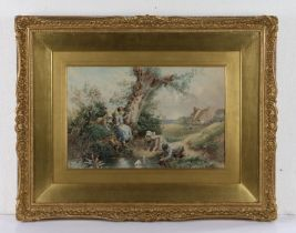 Manner of Myles Birket Foster (1825-1899), children sailing model boats in a pond with distant