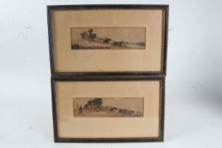 Pair of 19th century coloured coaching prints, each housed within ebonised and glazed frames, 21.5cm