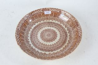 19th century brown and white transfer printed bowl, stamped Alpine to base, 30.5cm diameter