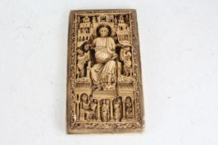 19th century plaster cast of a Medieval ivory carving, 24cm high
