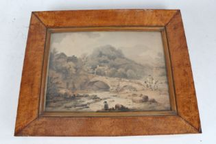 Pair of 19th century coloured prints, each depicting landscape scenes of figures by a castle and the