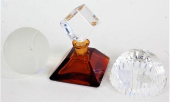 Art Deco style amber glass scent bottle, together with a Stuart crystal glass 'Concrode'