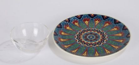 Greek Nassos plate, with a brightly coloured Art Nouveau design, 24cm diameter,together with a