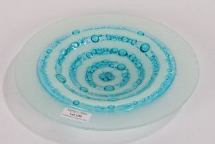 Penny Gough, circular bubble glass dish in blue and white, 24cm diameter