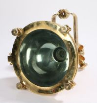 Mid 20th Century Oil Tanker ceiling lamp, Japanese, in copper and brass, the head 24cm diameter
