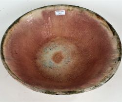 Large 20th century studio pottery bowl, the interior bowl with running glazes, painted initials JB