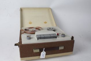 1960's/70's reel to reel tape player, housed within a carrying case, 35cm wide