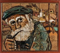 """Ceramic tile picture depicting a bearded gentleman smoking a pipe, formed from 30 tiles, signed """"K."""