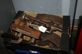 Collection of various tools, to include woodworking planes, mortice gauge, chisels, boxwood rules