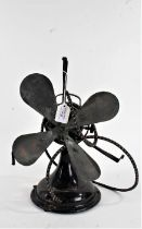 General Electric Company desk fan, circa 1930's, with cast iron base, (lacking cage and sold as