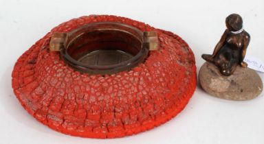 Novelty Dunlop ashtray, in the form of a tyre, 18.5cm diameter, together with an Art Deco style nude