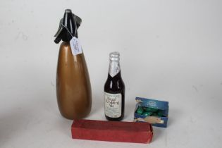 Mid 20th Century BOC soda syphon, in gold, with boxed Sparklets capsules, a boxed Sparklets
