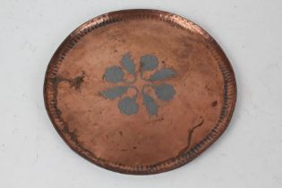 Paul Gilling, Arts and Crafts copper tray, centred with an inlaid white metal floral motif,