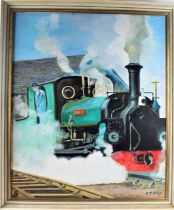 V.J. Delany, study of steam train 'Blanche', signed oil on canvas, housed within a contemporary