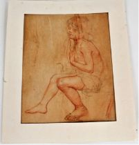 20th century, pencil and pastel study of seated girl, 20cm wide x 25cm high, and one other in
