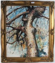 20th century English School, abstract study of a tree, indistinctly signed oil on board, housed
