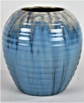 1930's Candy Ware vase, of ribbed form with blue running glaze, 15cm high