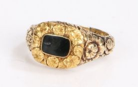 George III mourning ring, the black enamel head with a flower head shank, the internal inscription