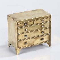 19th Century brass novelty money box, in the form of a chest of drawers with the top two drawers