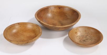 Three 19th Century treen dairy bowls, the largest example with a ring turned outside edge, 38cm