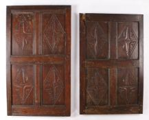 Two 17th Century oak panels, each panel set with four diamond and leaf carved panels, 58cm wide x