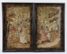 Pair of 19th Century silk and woolwork pictures, depicting figured harvesting hops, 32cm x 51cm