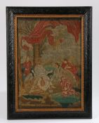 18th Century needle work picture, titled Ministration of Angels to Jesus Christ, named and dated