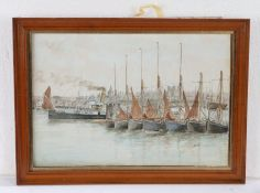 British primitive school, signed L.R. Hill, Boats by a cityscape, signed watercolour, 37cm x 25cm