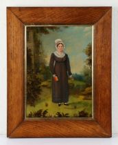 19th Century British Primitive school, of a lady standing in a garden holding a bible and a rose,
