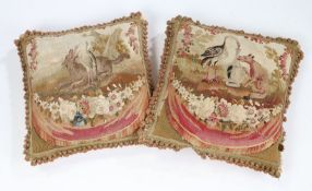 Pair cushion covers of 18th Century Aubusson, depictingAesop's fable,the first depicting a wolf