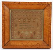 Charming small size sampler, with the central poem 'A feeble faint, Shall win the day, Though